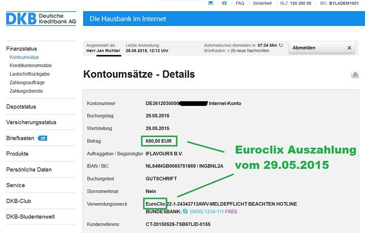 Euroclix Auszahlungsnachweis