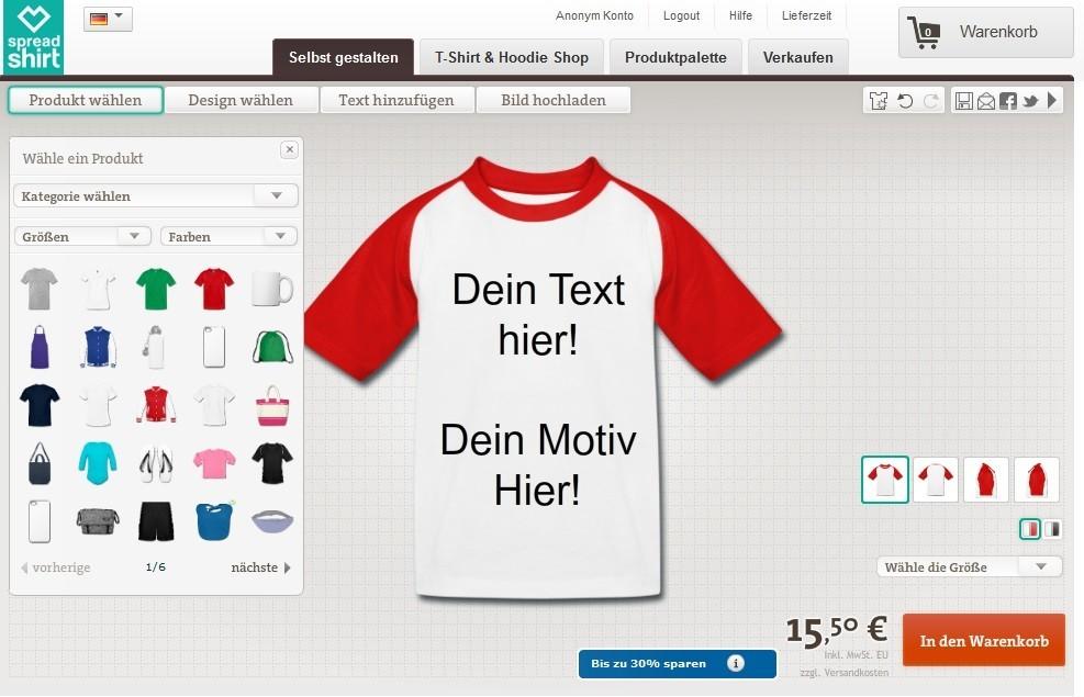 Geld verdienen im Internet mit Spreadshirt